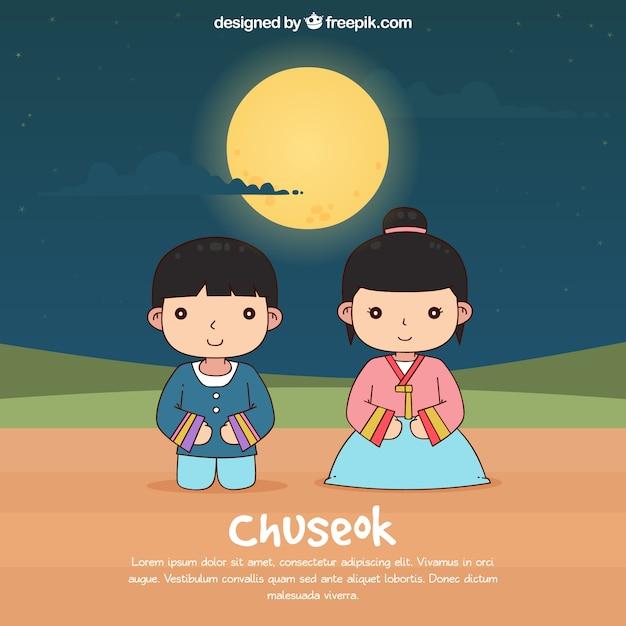 Hand drawn chuseok composition Free Vector