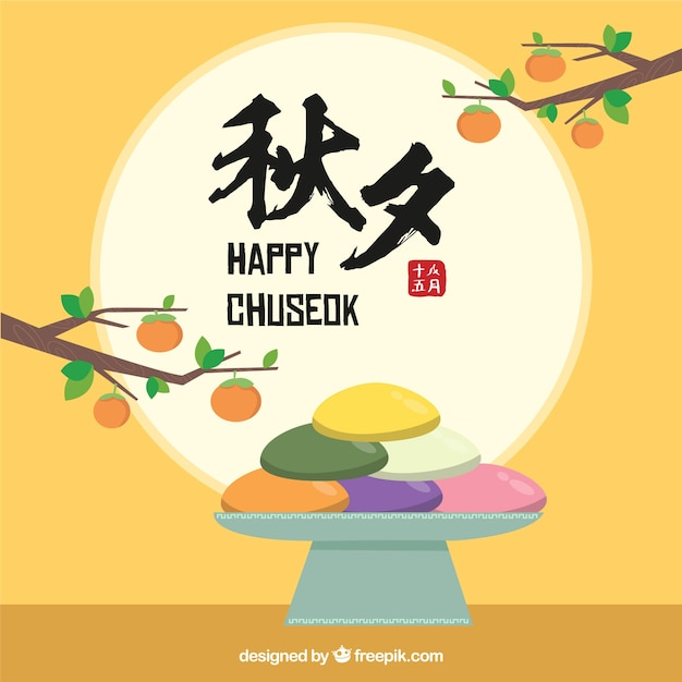 Hand drawn chuseok composition Free Vector