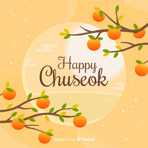 Hand drawn chuseok full moon Free Vector