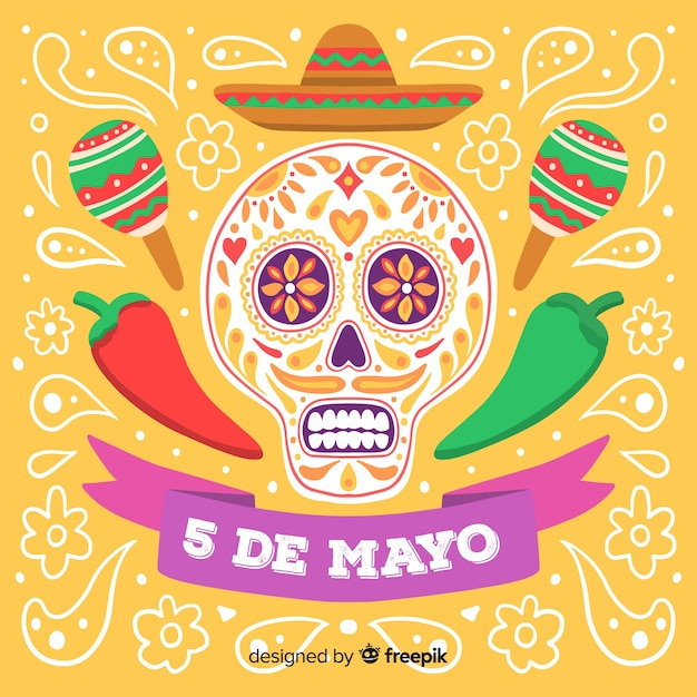Hand drawn cinco de mayo background Free Vector
