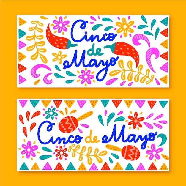 Ручной обращается синко де майо баннеры шаблон Бесплатные векторы