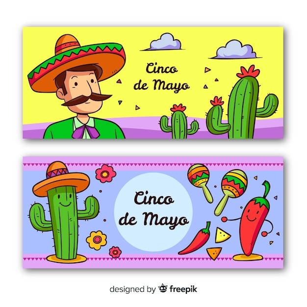 Hand drawn cinco de mayo banners Free Vector