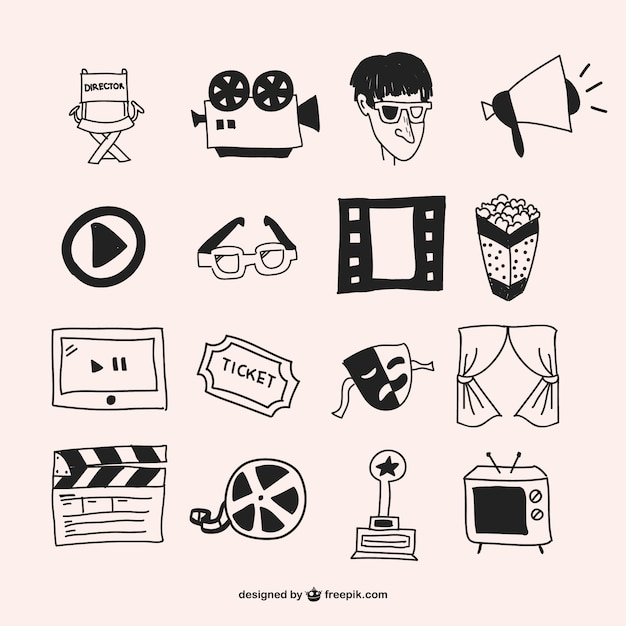 Hand drawn cinema elements Free Vector