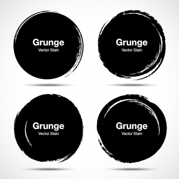 Hand drawn circle brush sketch set. circular grunge doodle round circles for message note mark design element. brush smear stain texture. banners, logos, icons, labels and badges. Premium Vector