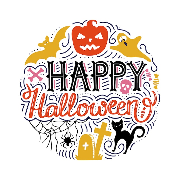 Hand drawn circle print with lettering happy halloween. Premium Vector