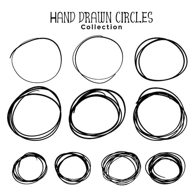 Hand drawn circle scribbles set of ten Free Vector