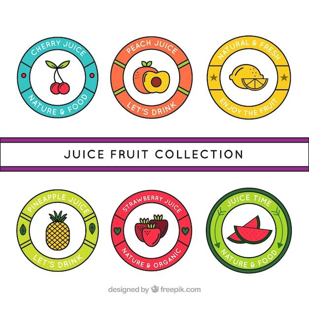 Disegnati a mano di frutta circolare etichette succo Vettore gratuito