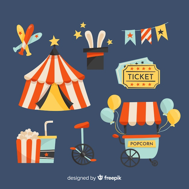 Hand drawn circus element collection Free Vector