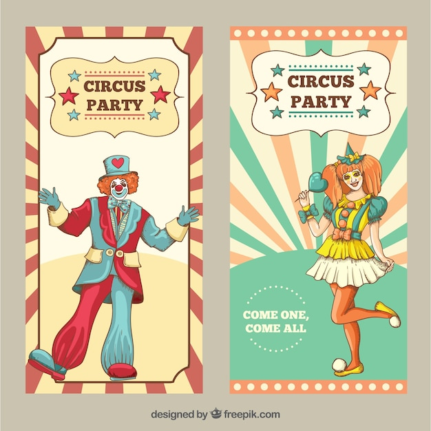 Disegnati a mano volantini circo in stile vintage Vettore gratuito