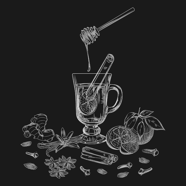 Hand drawn citrus non alcoholic mulled wine and spices on blackboard. Premium Vector