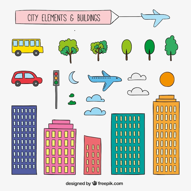 Hand drawn city elements and buildings in colorful style