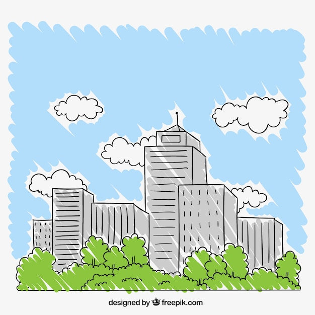 Hand drawn city Free Vector