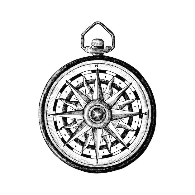 Hand drawn classic compass Free Vector