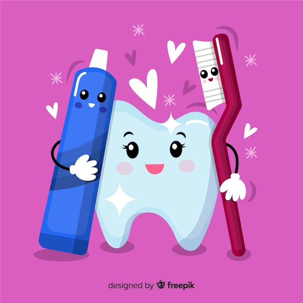 Hand drawn clean tooth with dental brush and toothpaste Free Vector