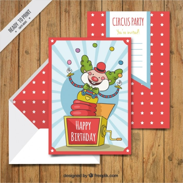 Hand drawn clown birthday cards with envelope Vector – Clown Birthday Cards