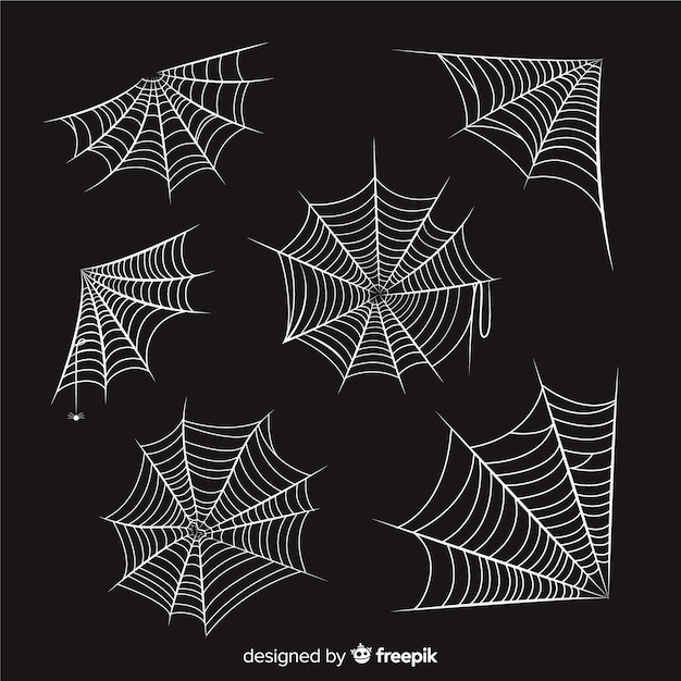 Hand drawn cobweb collection on black background Free Vector