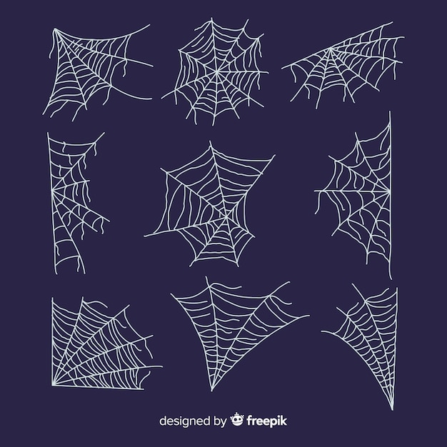 Hand drawn cobweb collection on blue background Free Vector