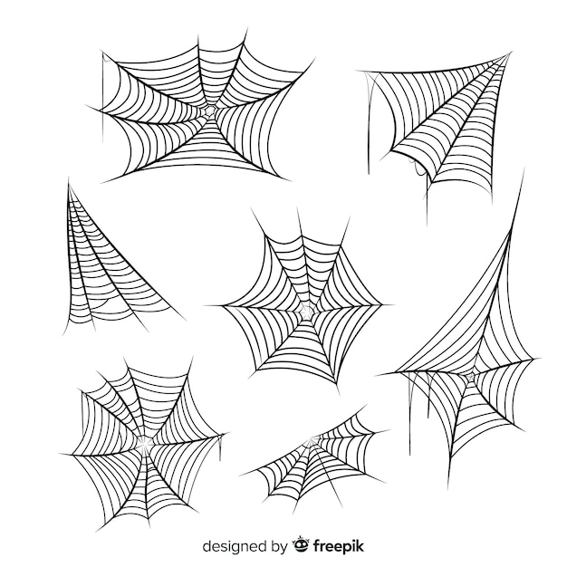 Hand drawn cobweb collection on white background Free Vector