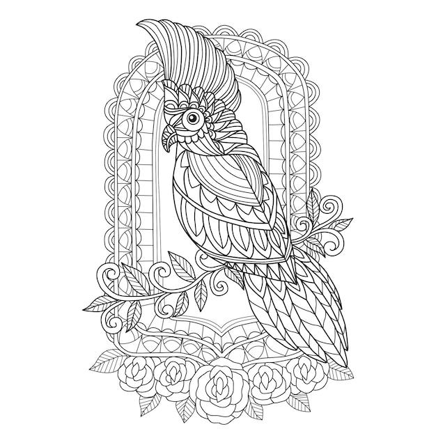 Hand drawn cockatoo and mirror Premium Vector