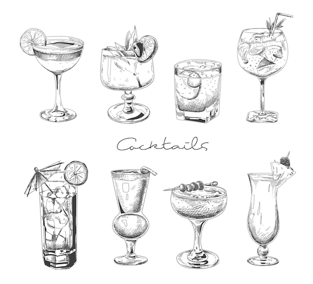 手描きのカクテル。メガネでアルコール飲料。ジュース、マルガリータマティーニをスケッチします。ラム酒、ジンウイスキーベクトルセットカクテル。 Premiumベクター