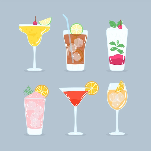 Premium Vector Hand Drawn Cocktail Collection Concept