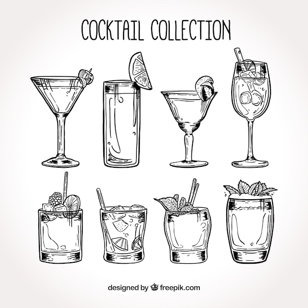 Hand drawn cocktail collection Free Vector