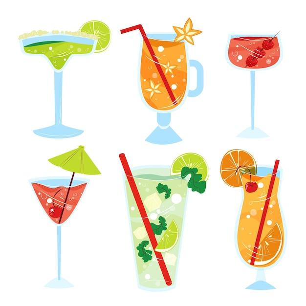 Collezione di cocktail disegnati a mano Vettore gratuito