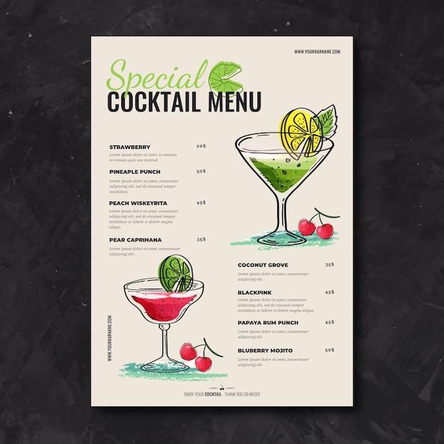 Hand drawn cocktail menu template Free Vector