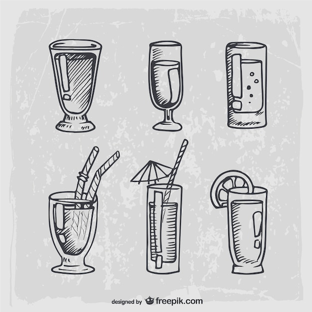 Hand drawn cocktails and alcohol drinks Free Vector
