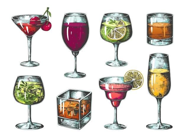 Hand drawn cocktails illustration Premium Vector