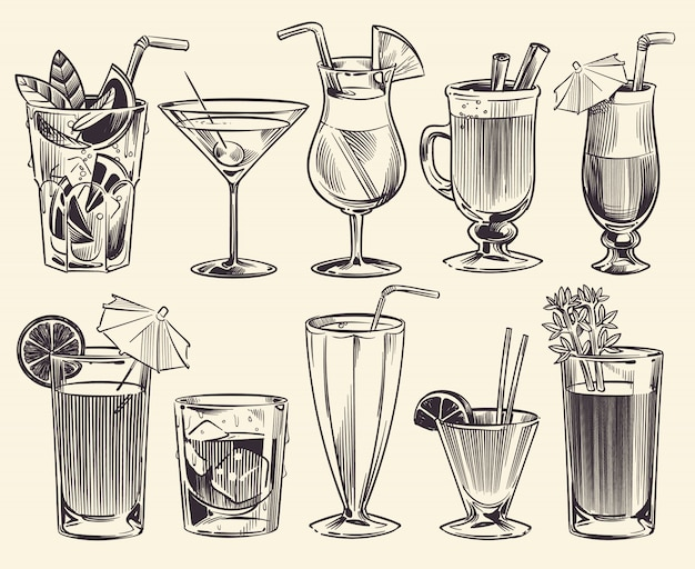 Hand drawn cocktails. sketch cocktails and alcohol drinks, cold beverages different glasses. restaurant alcoholic drinks vector set Premium Vector