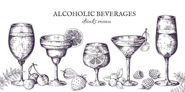 Hand drawn cocktails. vintage alcoholic menu sketch, liquor beverages and lemonades. Premium Vector