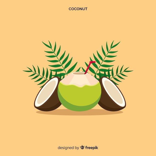 Ручной обращается кокосовый фон Premium векторы