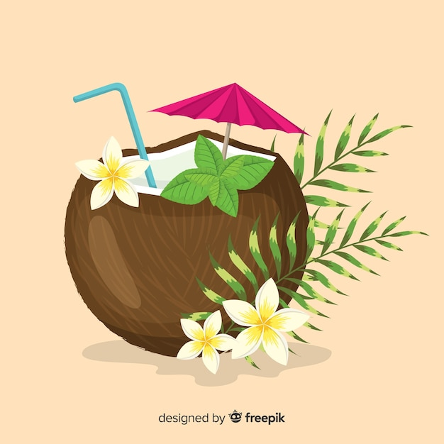 Hand drawn coconut cocktail background Free Vector