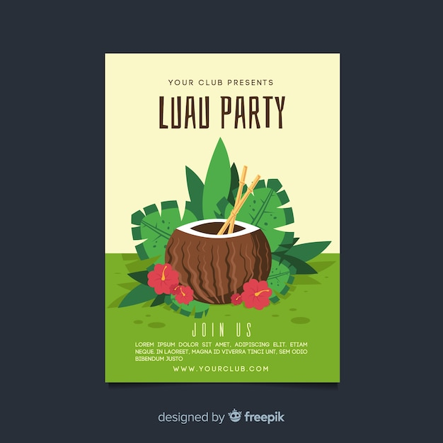 hand drawn coconut luau party poster template vector free download