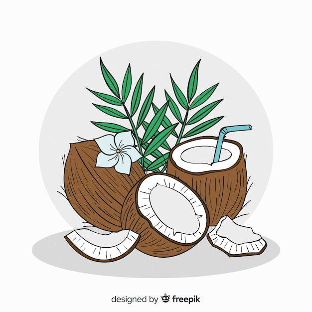 Hand drawn coconut with leaves background Free Vector