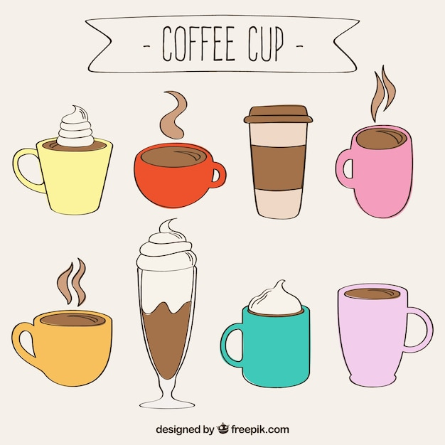 hand drawn coffee cups free vector