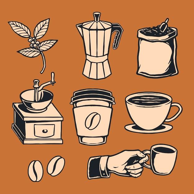 Hand drawn coffee element Premium Vector