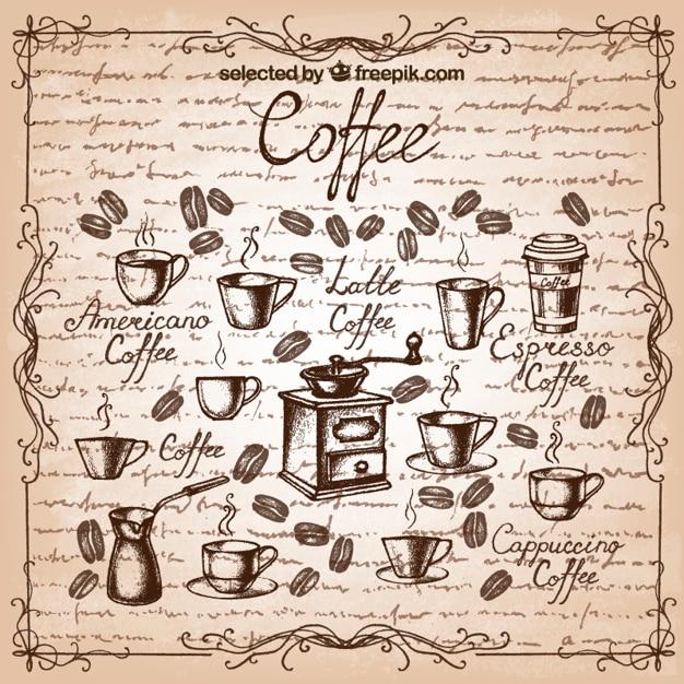 Ручной обращается элементы кофе Бесплатные векторы