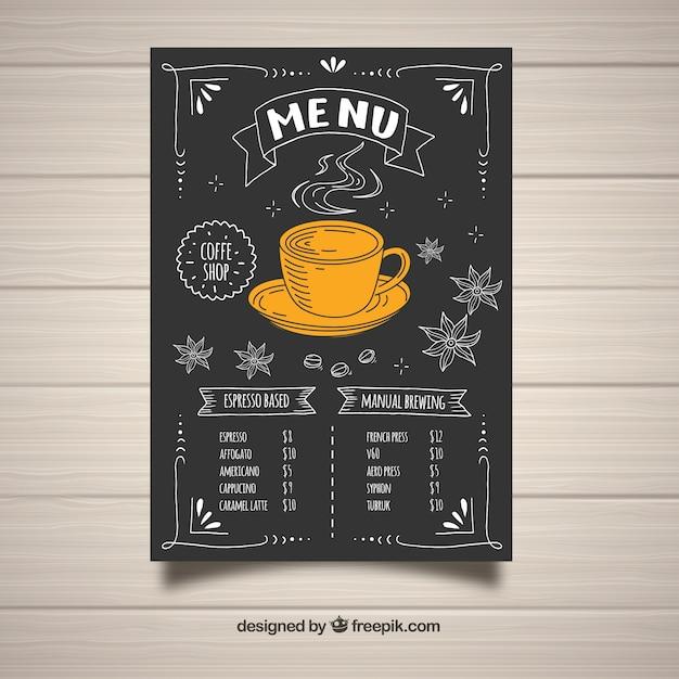 hand drawn coffee menu design vector free download