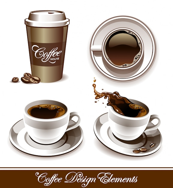 Hand drawn coffee shop elements