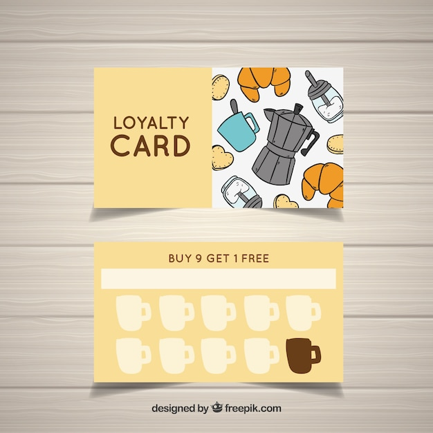 Hand drawn coffee shop loyalty card template Free Vector