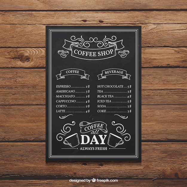 Hand Drawn Coffee Shop Menu Vector  Free Download