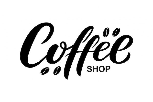 Hand drawn coffee shop text Premium Vector