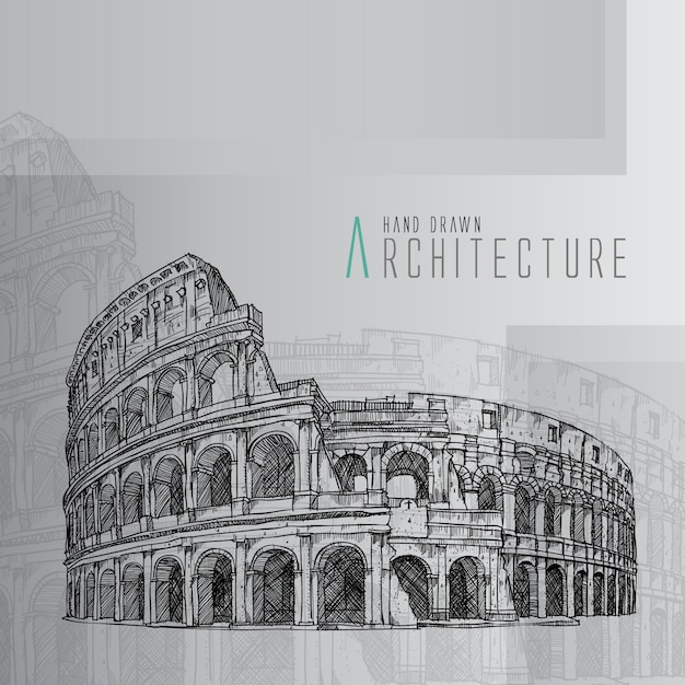 Hand drawn coliseum Free Vector