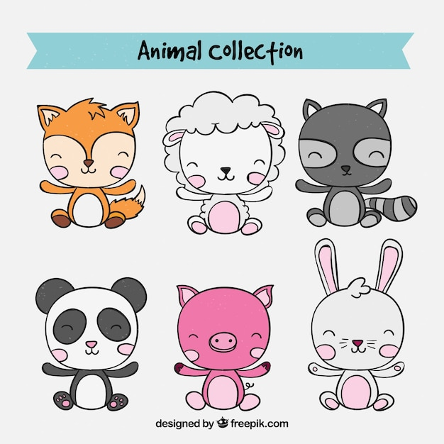 Hand drawn collection of baby animals Free Vector