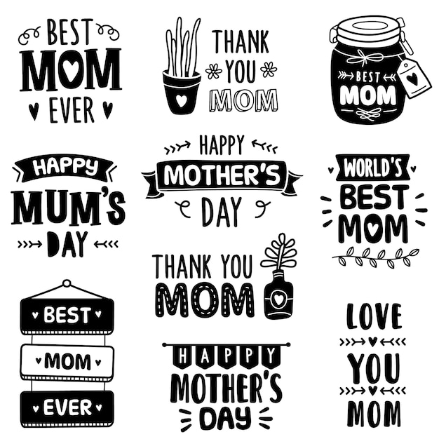 Hand-drawn collection: celebrating mother's day Premium Vector