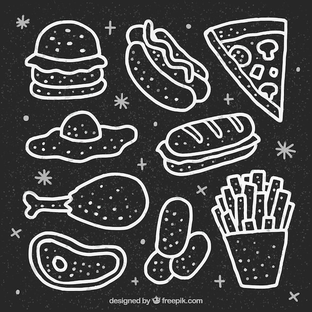 Hand drawn collection of food in chalkboard style Free Vector