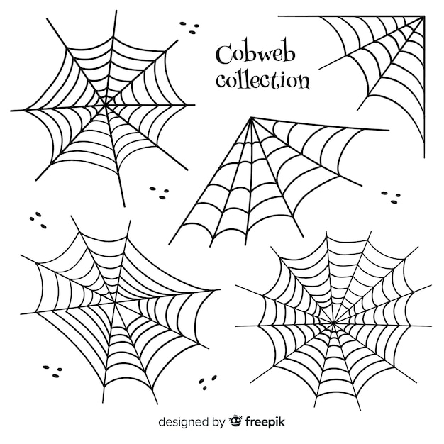 Hand drawn collection of halloween cobwebs Free Vector
