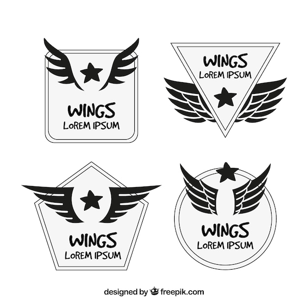 Hand-drawn collection of logos with wings and stars Premium Vector